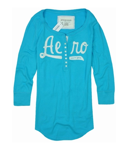 Aeropostale Womens 0 Henley Shirt curacaoblue M