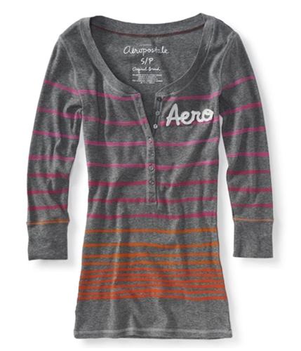 Aeropostale Womens 3/4 Sleeve Tie Dye Henley Shirt 053 L