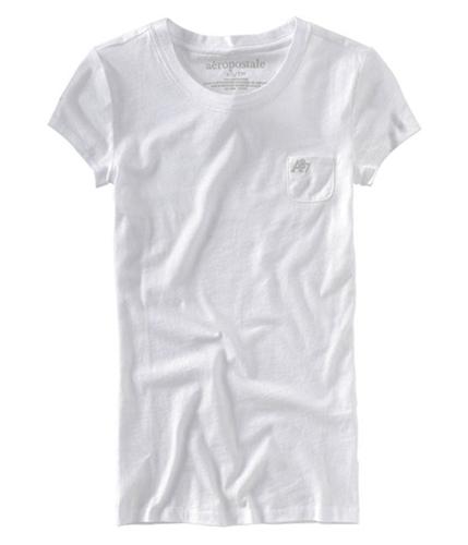 Aeropostale Womens Solid Pocket A87 Graphic T-Shirt bleachwhite XS