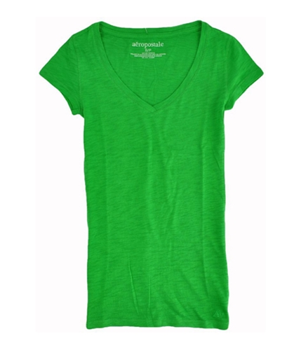 Aeropostale Womens Solid V-neck Graphic T-Shirt picnic S