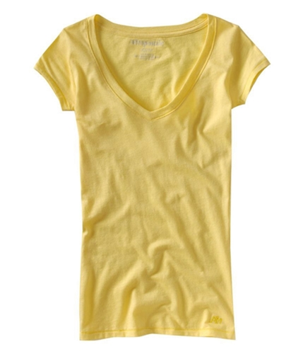 Aeropostale Womens Solid V-neck Graphic T-Shirt sunlightyellow S