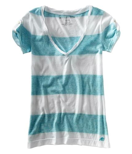 Aeropostale Womens V-neck Graphic T-Shirt waterdaqua XS
