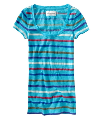 Aeropostale Womens Multi Stripe Graphic T-Shirt curacaoaqua XS