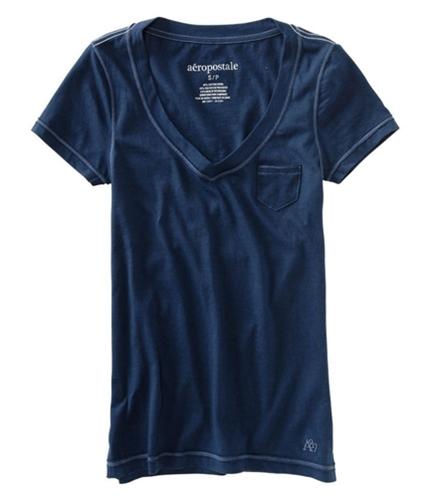Aeropostale Womens V-neck Solid Pocket Basic T-Shirt navynightblue XS
