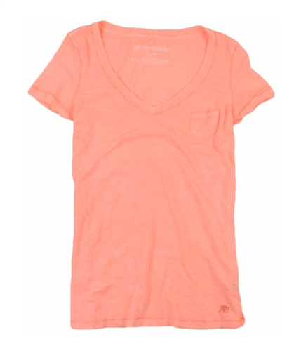 Aeropostale Womens Neon V-neck Graphic T-Shirt corall XS