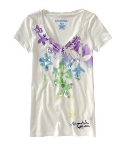 Aeropostale Womens Floral Print Summer Graphic T-Shirt whitecruise XS
