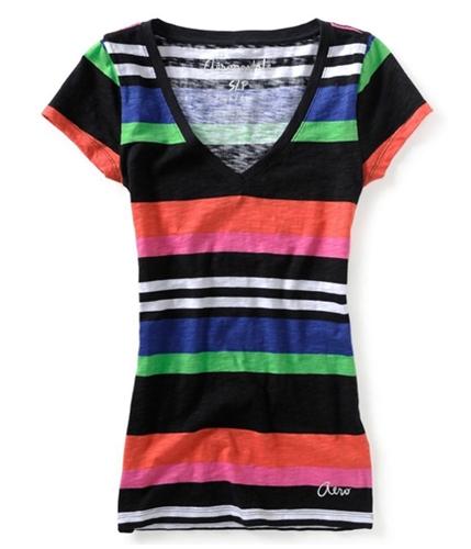 Aeropostale Womens V-neck Stripe Graphic T-Shirt 001 XS
