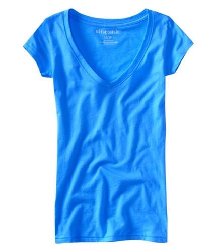 Aeropostale Womens Solid Plain V-neck Basic T-Shirt blue XL