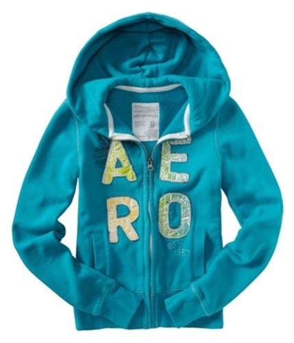 Aeropostale Womens Aero Floral Hoodie Sweatshirt surftealgreen S