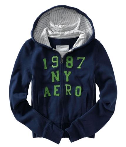 Aeropostale Womens 1987 Ny Aero Hoodie Sweatshirt navynightblue S