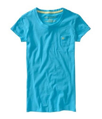 Aeropostale Womens Solid A87 Pocket Basic T-Shirt curacao XS