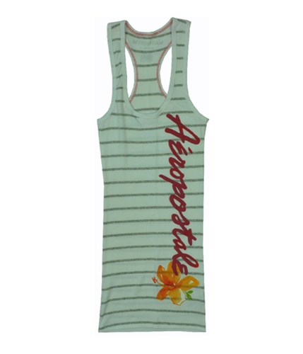 Aeropostale Womens Floral Stripe Fitted Tank Top graylththr XS