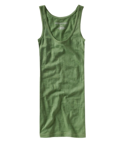 Aeropostale Womens Solid Ribbed Floral Design Boy Tank Top balsamgreen XS