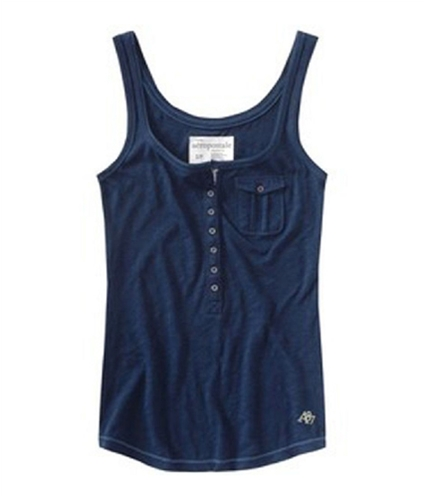 Aeropostale Womens Solid Colora87 Tank Top navyni S