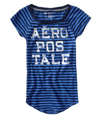 Aeropostale Womens Silver Stripe Graphic T-Shirt blue S