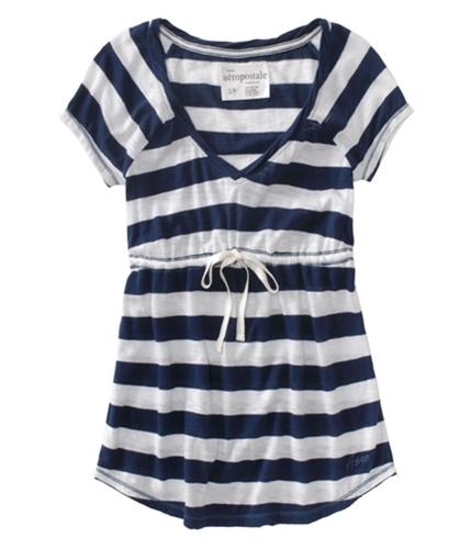 Aeropostale Womens Stripe V-neck Banded Waist Pullover Blouse navyniblue XS
