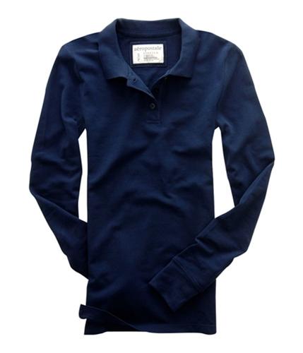 Aeropostale Womens Solid Long Sleeve Polo Shirt navyni S