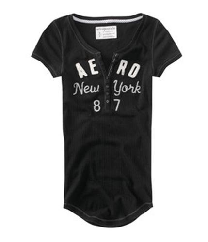 Aeropostale Womens Stretch New York Embroidered Henley Shirt black XS
