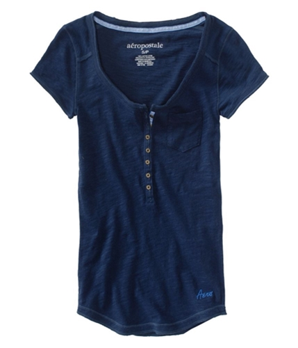 Aeropostale Womens Sleeve Stitched Seam Henley Shirt navyniblue XS
