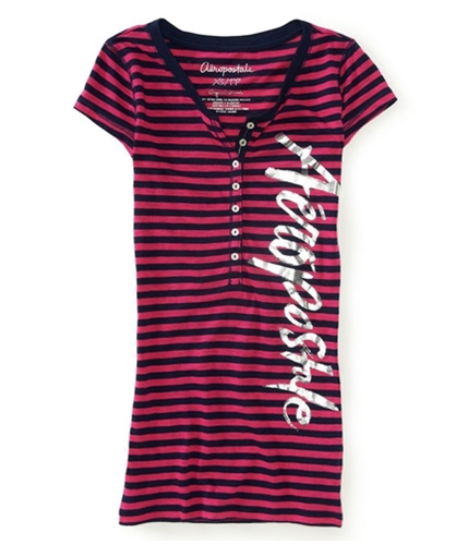 Aeropostale Womens Stripes Henley Shirt 484 XS