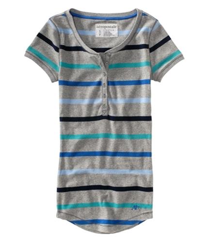 Aeropostale Womens Stripe A87 Henley Shirt lththr XS