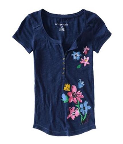 Aeropostale Womens Floral Design Henley Shirt navyniblue XS