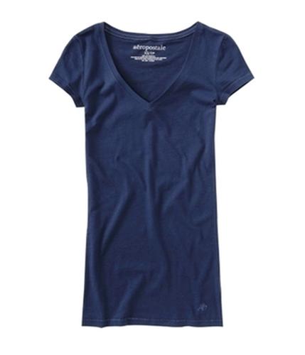 Aeropostale Womens Solid V-neck Graphic T-Shirt navyni XS