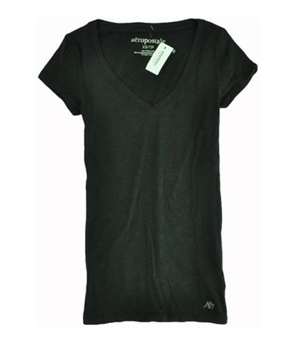 Aeropostale Womens Solid V-neck Graphic T-Shirt black XS