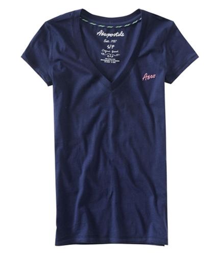 Aeropostale Womens S V-neck Graphic T-Shirt navyniblue XS