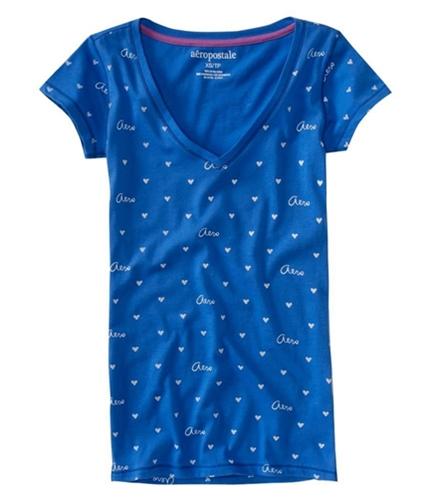 Aeropostale Womens Aero Tiny Heart Sleeve V-neck Graphic T-Shirt rivierablue XS