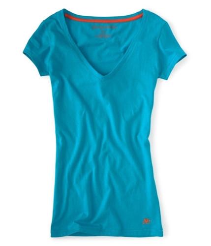Aeropostale Womens Solid V-neck Graphic T-Shirt blueti S
