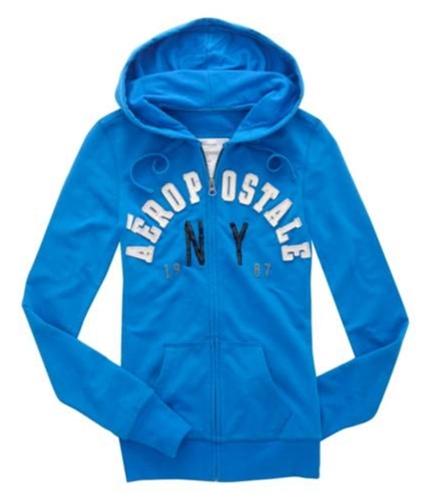 Aeropostale Womens Embroidered Ny Hoodie Sweatshirt seablue XS