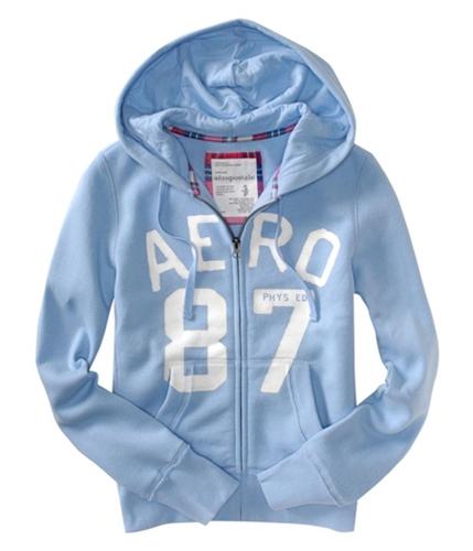 Aeropostale Womens Long Sleeve, Graphic Hoodie Sweatshirt crystalblue S