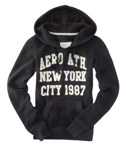 Aeropostale Womens New York City Hoodie Sweatshirt black XS