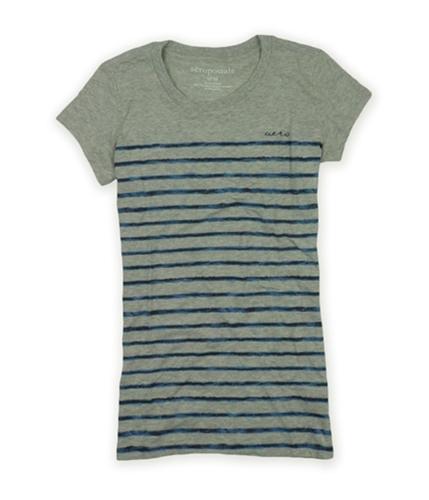 Aeropostale Womens Sleeve Stripe Aero Graphic T-Shirt lththrgray S