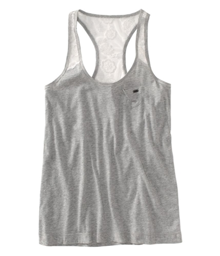 Aeropostale Womens Lacey Strap Small Pocket Tank Top lththrgray L