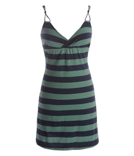 Aeropostale Womens Stripe Spaghetti Strap Halter Sundress kalegreen S