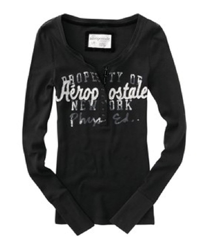 Aeropostale Womens Embroidered Henley Shirt black XS
