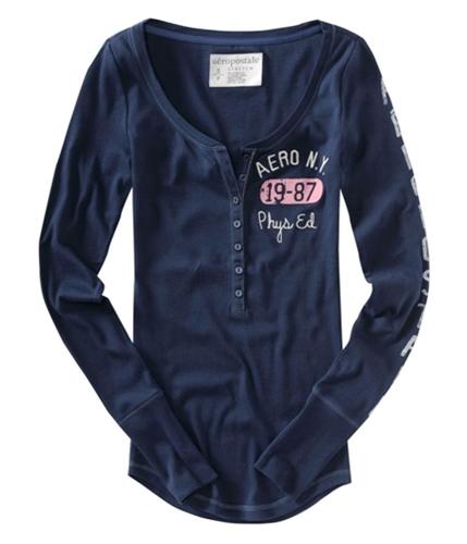 Aeropostale Womens Aero Ny Phys Ed. Henley Shirt navyniblue XS