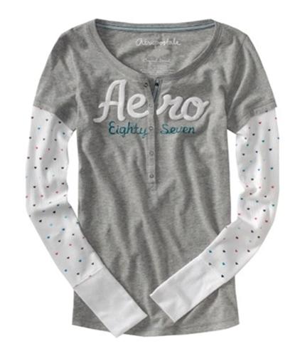 Aeropostale Womens Script Eighty Seven Graphic T-Shirt lththrgray M