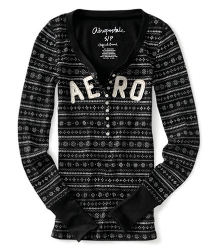 Aeropostale Womens Snow Flake Thermal Henley Shirt black XS