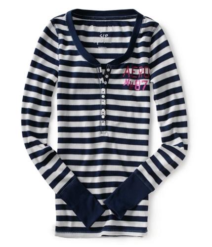 Aeropostale Womens Aero Ny 87 Henley Shirt navyni XS