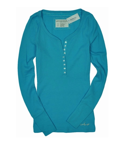 Aeropostale Womens Thermal Henley Shirt curacaoblue S