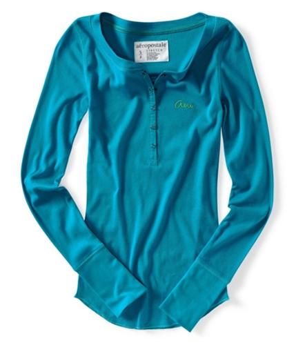 Aeropostale Womens Embroidered Ribbed Henley Shirt blueti S