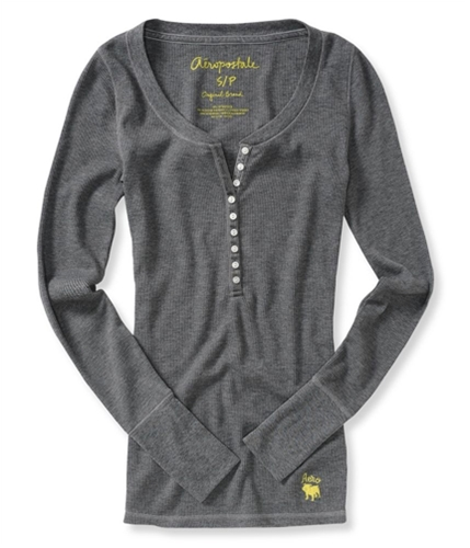 Aeropostale Womens Bulldog Thermal Henley Shirt medgre S