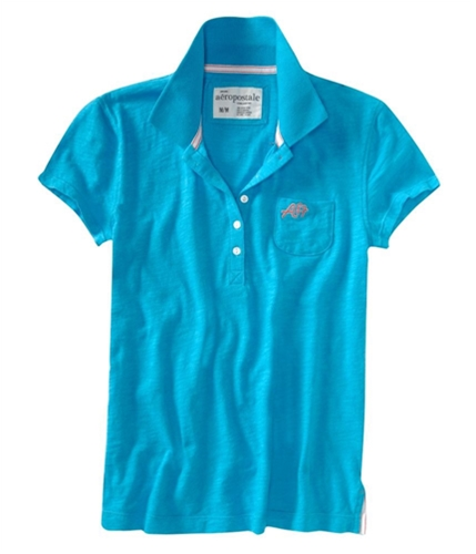 Aeropostale Womens A87 Pocket Polo Shirt curacaoaqua S