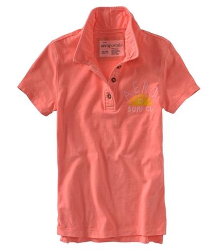 Aeropostale Womens Aero Surf Co. Polo Shirt orangecorall S