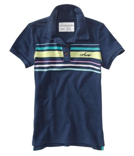 Aeropostale Womens Stripe Embroidered Polo Shirt navynightblue S