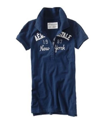Aeropostale Womens Embellished New York Polo Shirt navynightblue XS
