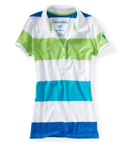Aeropostale Womens Stripe Embroidered Aero Polo Shirt 477 XS